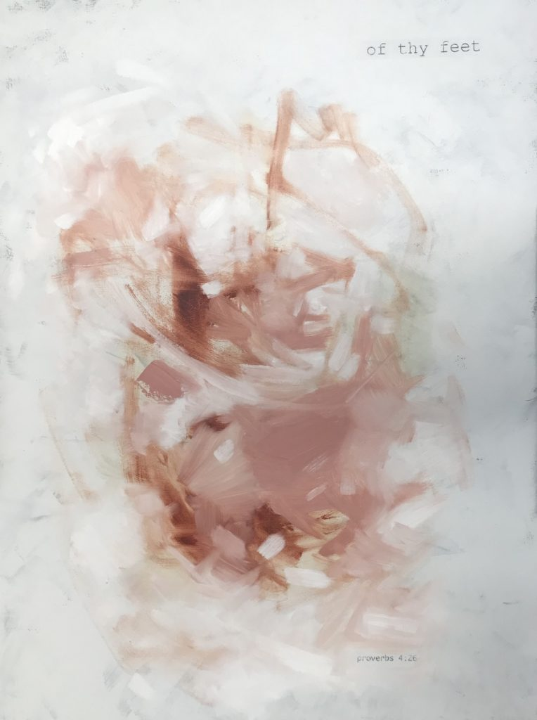 blush and white abstract expressionism with scripture Psalms