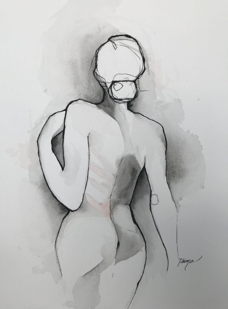 black and white watercolor nude female with hints of blush