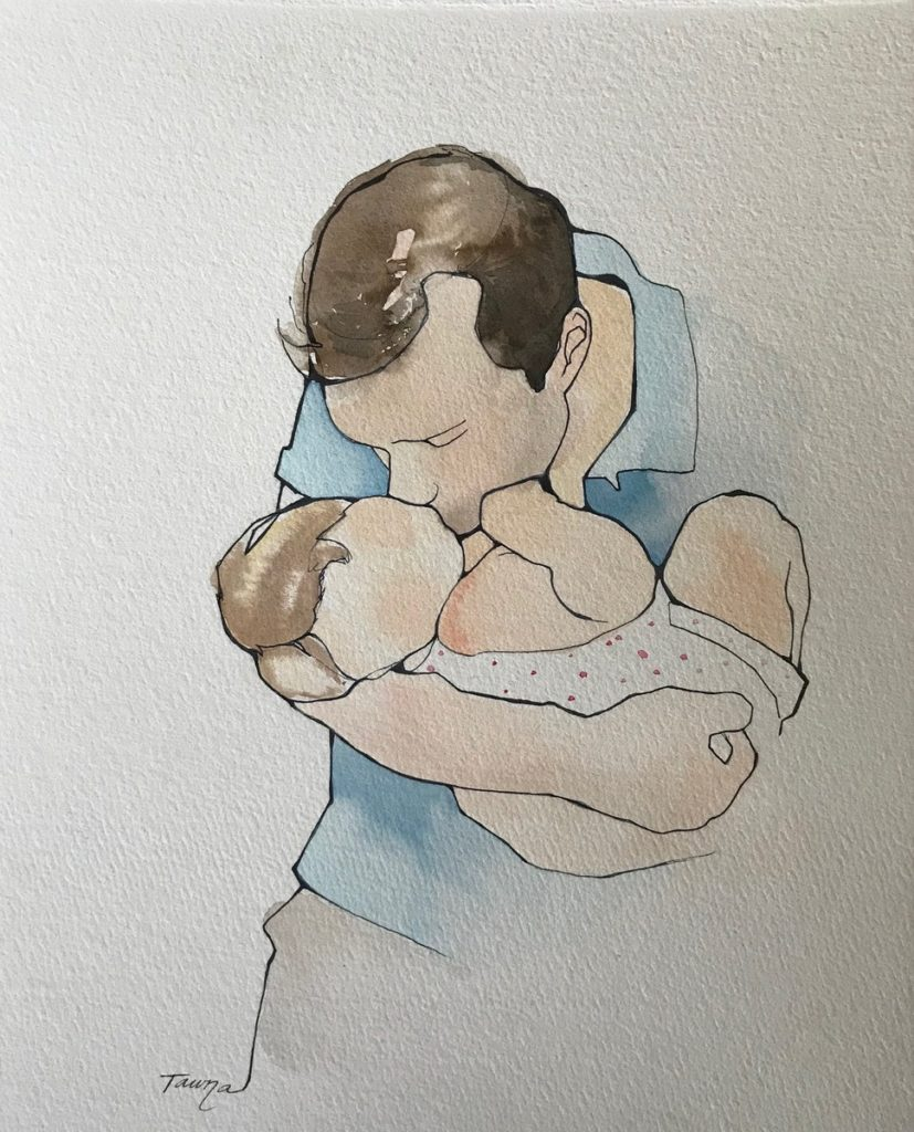 watercolor of a father kissing his baby girl